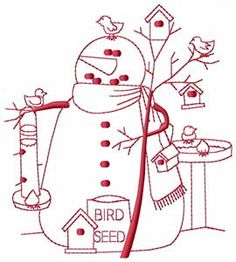 march snowman  Emroidery in Red Work, would look cute on a hot pad, pot holder, placemat, mug rug or more.