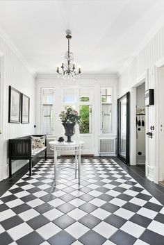 Hallway with checkerboard floor French Country Decorating, Home, Foyer Decorating, Black Decor, French Provincial Home, Hall Design, Country Interior, Hall Flooring, Hallway Designs