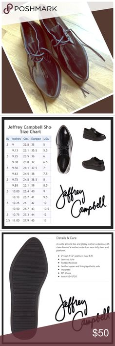 Jeffrey Campbell Eggbert Oxford Black Patent NWOB Jeffrey Campbell.  Eggbert Oxford   Lace up style/ Thick sole.. Color: Black Patent Size-39/ 8.5 GenuineLeather Uppers  NWOB....I will package 📦 accordingly for shipping ... Jeffrey Campbell Shoes