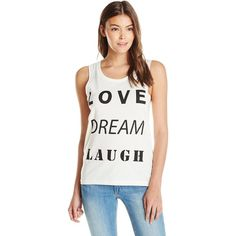 Vero Moda Women's  Always Love Dream Laugh Graphic Tank Top (33 CAD) ❤ liked on Polyvore featuring tops, sleeveless tops, white tops, white singlet, print top and sleeveless tank