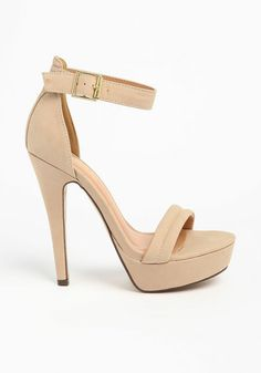 Ankle Strap Heels, NUDE, large