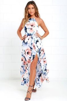 Floral dress summer - At Long Last Peach and Blue Floral Print Maxi Dress – Floral dress summer Mode Outfits, Dress Outfits, Dress Up, Fashion Outfits, Dress Fashion, Dress Long, Fashion Clothes, Fashion Ideas, Blue Skirt Outfits