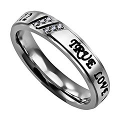 TRUE LOVE WAITS 1 TIM 4:12 Religious Scripture Ring, Stainless Steel CZ $29.95