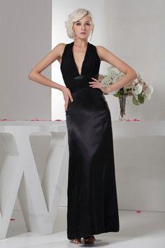 Top Halter V Neck Satin Ankle Length Black Dresses | Fashion4you - Clothing on ArtFire