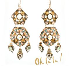 Earrings with Swarovski, Zircon and Gold Fill, Bridal Statement Swarovski Crystal Earrings Beaded by Esther Marker