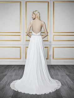 Casual Bohemian bridal gown with a beaded sash | Style T736 | Moonlight Tango
