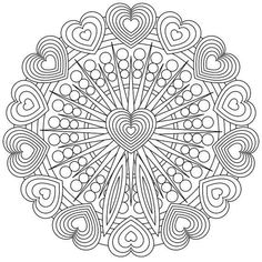 Heart Coloring Pages, Printable Adult Coloring Pages, Mandala Coloring Pages, Coloring Pages To Print, Colouring Pages, Coloring Books, Zentangle Patterns, Embroidery Patterns, Arte Elemental