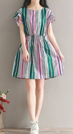 Women loose fit over plus size stripes skater dress tunic fashion casual chic #Unbranded #dress #Casual