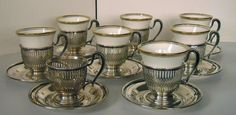 8 Sterling Silver Cup Holders and Saucers and 7 by AtelierMistress, $375.00