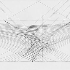 A simplistic perspective drawing of stairs Interior Architecture Drawing, Architecture Concept Drawings, Architecture Sketchbook, Perspective Drawing Lessons, Perspective Sketch, How To Draw Stairs, Art Sketches, Art Drawings, Object Drawing
