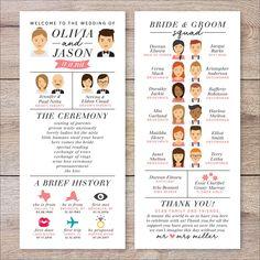 Our Wedding Infografik Hochzeitsprogramm Hochzeitsprogramm Portrait Fun Printable Wedding Programs, Unique Wedding Programs, Unique Weddings, Wedding Ceremony Programs, Wedding Advice, Wedding Processional Order, Romantic Weddings, Wedding Checklists, Wedding Verses