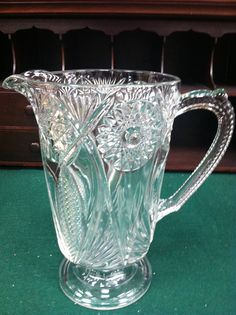 Beautiful EAPG Early American Pressed Glass Pitcher by Chichesters, $69.50