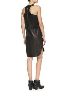 T9FTY Rag & Bone Crete Leather Tank Dress, Caviar