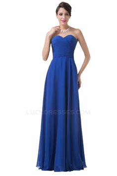 A-Line Sweetheart Long Blue Chiffon Prom Evening Bridesmaid Dresses ED011647