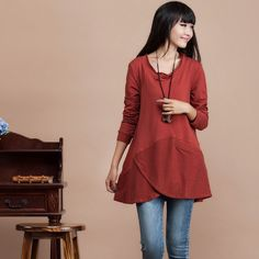 Casual Long sleeved T-shirt Blouse for Autumn and Spring