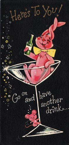 Vintage 1960s Happy New Year Card, tipsy pink bunny and mouse with champagne glass