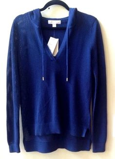 NWT MICHAEL KORS WOMEN'S SOLID BLUE COTTON/RAYON LONG SLEEVE HOODIE SZ  S #MichaelKors #Pullover