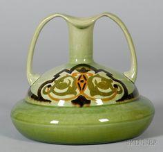 Ault Christopher Dresser design earthenware two-handled vase, late 19th century