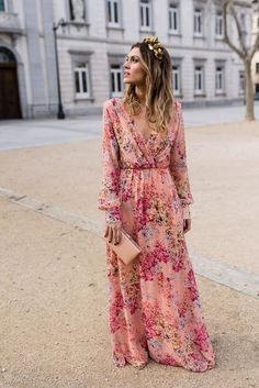 boho wedding Guest - New dress boho pink long sleeve ideas Trendy Dresses, Nice Dresses, Casual Dresses, Beautiful Maxi Dresses, Dresses Dresses, Wrap Dresses, Dresses Online, Pink Floral Maxi Dress, Boho Dress