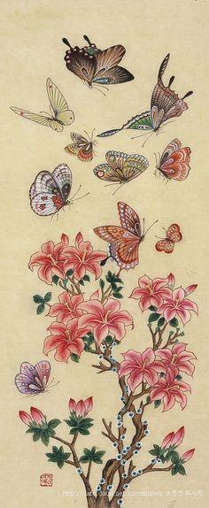 화접도 : 네이버 블로그 Butterfly Art, Flower Art, Butterflies, Korean Painting, Geisha Art, Butterfly Illustration, China Art, Korean Art, Traditional Paintings