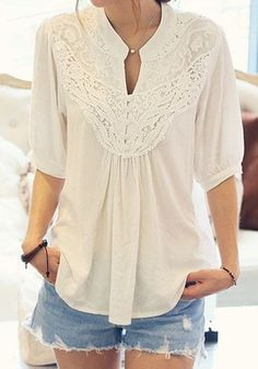 White Plain Lace Pleated Band Collar Elbow Sleeve Chiffon Blouse - Blouses - Tops