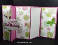 Stampin\' Up! Five Panel Card by Demo Pamela Sadler, See more at stampinkpinkrose.com #stampinpinkrose#etsycardstrulyftheart