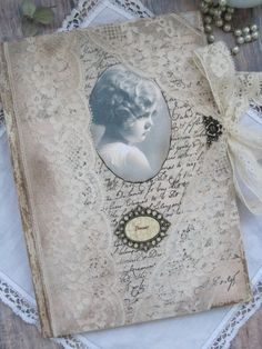 Romantic lace diary, journal, notebook, vintage style diary, vintage style journal, shabby chic diary, shabby chic journal, tagebuch