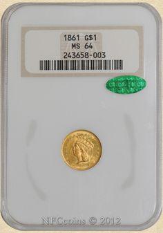 1861 Gold Indian Dollar MS64 NGC ~ CAC, obverse