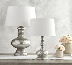 CFL Mercury Glass Table Lamp, Base Only At Pottery Barn - Lighting - Table & Task Lamps - Table & Bedside Lamps Table Lamp Wood, Table Lamp Base, Ceramic Table Lamps, Lamp Bases, Glass Table, Desk Lamp, Table Desk, Console Tables, Pottery Barn