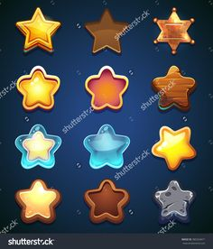 Vector Illustration Set Of Stars On A Blue Background - 380324671 : Shutterstock