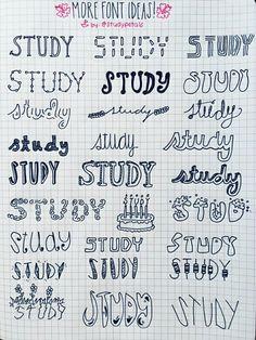 Bullet Journal Font, Journal Fonts, Bullet Journal Ideas Pages, Bullet Journal Inspiration, Bullet Journals, Studyblr, Kunstjournal Inspiration, Pretty Notes, Sketch Notes