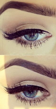 Natural eye makeup + perfect black winged liner + dark brows