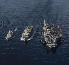 The fast combat support ship USNS Supply (T-AOE resupplies the Danish navy frigate HDMS Peter Willemoes (F left, and the U. Navy aircraft carrier USS George H. Bush (CVN during a replenishment-at-sea in the Mediterranean Sea. Carrier Strike Group, Navy Aircraft Carrier, Capital Ship, Us Navy Ships, Navy Mom, Navy Marine, Military Life, Submarines, Water Crafts