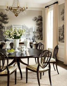 In the dining room of a house in Purchase New York designer Gideon Mendelson put a fresh spin on scenic wallpaper by cutting up Zubers Courses de Chevaux into scenes and. Interior Exterior, Interior Design, Industrial Dining, Dining Room Design, Dining Table, Dining Rooms, Dining Area, Decoration, Room Decor