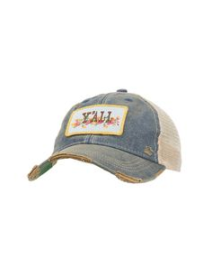 Judith March Distressed Denim Floral Yall Patch Cream Mesh Back Snap Back  Cap  ade27d22598