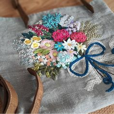 Embroidery Art, Embroidery Designs, Hollyhock, Hobby Farms, Floral Tie, Tableware, Instagram Posts, Accessories, Dinnerware