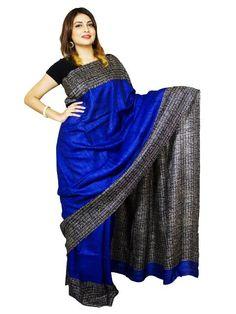 Buy Pure Ghicha Tussar Silk Saree