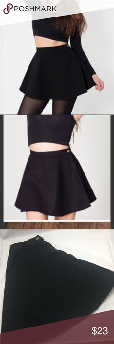 American Apparel Denim Black Skater Skirt American Apparel Denim size medium, jet black. Perfect condition and so cute. American Apparel Skirts Circle & Skater