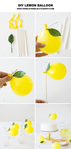 DIY Lemon Balloon Decorations - lemon balloon straws/cake topper