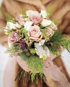 Beautiful Winter Bridal Bouquet Comprised Of Gorgeous Champagne/Sand Roses, Lavender/Taupe Roses, Silver Brunia, & Mixed Winter Foliages & Cedars****
