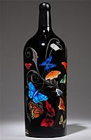 custom designed, etched, engraved, and hand-painted wine bottles by Fresh Northwest Design Glitter Wine Bottles, Empty Wine Bottles, Christmas Wine Bottles, Recycled Glass Bottles, Wine Bottle Art, Glass Bottle Crafts, Painted Wine Bottles, Lighted Wine Bottles, Painted Wine Glasses