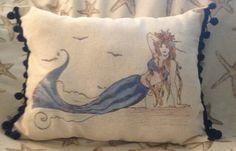 18x12 lumbar Mermaid pillow, coastal, nautical, summer, beach, lake, coastal…