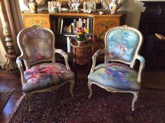 pair of fauteils , Louis XV style. Fabric by Adrienne Silva, curated by John Silva Abstract Expressionism, Abstract Art, Louis Xv Chair, Painter Artist, Lisbon, Landscape Paintings, Contemporary Art, Armchair, New Homes