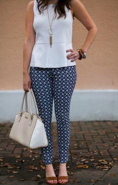 Printed Pants & White Peplum