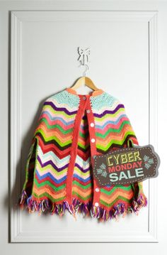 Vintage Poncho Crocheted / Multi Color Chevron Zig Zag Afghan / Granny Style / Hippie / 70s Vtg / by thriftage, $68.00 // Cyber Monday Sale // Vintage Style