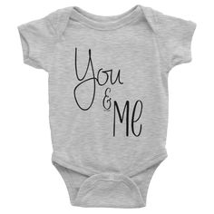 You & Me onesie #beanandjean Short-sleeve baby onesie is printed on American Apparel's soft, comfortable, 100% cotton. It's designed to fit infants of all sizes, with a rib knit to give good stretch and a neckband for easy on-and-off.  • 100% baby rib cotton construction (heather contains 10% polyester) • Made and printed in the USA • Neckband for easy on-and-off • Not intended for sleepwear • Shrinkage: it will shrink an average of one size when put in the dryer