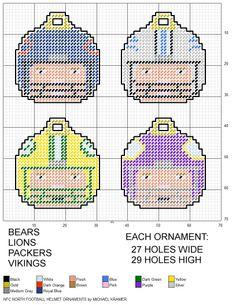 NFL NFC North Football Helmet Ornaments plastic canvas pattern by Michael Kramer