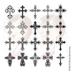 Cross Digital Clipart Ornate Christian Orthodox Gothic Crosses Graphics…