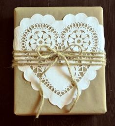 paper heart .... brown paper..... string