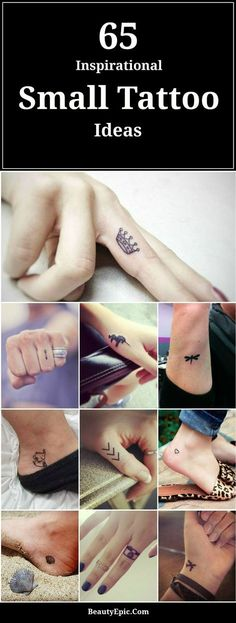 65 Cute and Inspirational Small Tattoos There are two types of people in this world: those who enjoy large tattoos and those who like small and delicate tattoos. Here is a list of small tattoos to 65 Cute and Inspirational Small Tattoos Large Tattoos, Mini Tattoos, Body Art Tattoos, New Tattoos, Sleeve Tattoos, Best Small Tattoos, Small Tattoo Quotes, Tiny Wrist Tattoos, Small Tats
